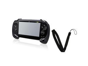 Black Hard plastic rubber coating Hand Grip with FREE Black Wrist Strap compatible with Sony PlayStation Vita