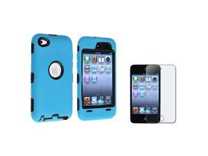 eForCity Black / Sky Blue Hybrid Case Cover + Anti-Glare LCD Cover Compatible with Apple® iPod Touch 4th Generation