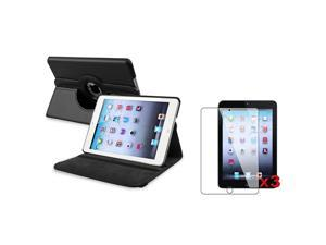 eForCity Black 360 Rotating Leather Case Cover+3X Clear Screen Protector For Apple  iPad Mini 1 / Apple iPad Mini 2 / iPad Mini with Retina Display (iPad Mini 3)