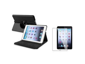 eForCity Black 360 Rotating Leather Case with Reusable Screen Protector for Apple  iPad Mini 1 / Apple iPad Mini 2 / iPad Mini with Retina Display (iPad Mini 3)