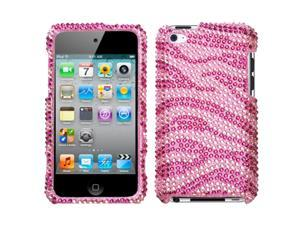 MYBAT Zebra Skin(Pink/Hot Pink) Diamante Protector Faceplate Cover Compatible With Apple® iPod touch(4th generation)