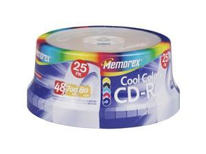 Memorex 04627 80-Minute Cool Colors Cd-Rs (25-Ct Spindle)