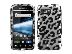 MYBAT Black Leopard (2D Silver) Skin Phone Protector Cover for MOTOROLA MB865 (Atrix 2)