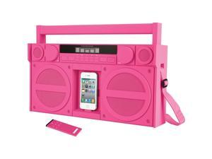 iHOME IP4PZC Ihome pink ip4 portable fm stereo retro-style boombox with ipod /iphone  dock