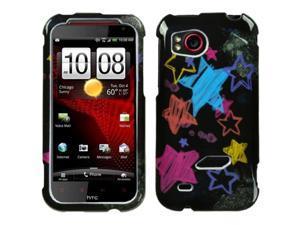 MYBAT Chalkboard Star Black Phone Protector Cover for HTC ADR6425 (Rezound)