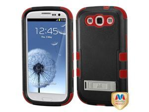MYBAT Samsung Galaxy S III Case Cover - Natural Black/Red TUFF Hybrid Phone Protector Cover (with Stand) For Samsung Galaxy S 3 III (i747/L710/T999/i535/R530/i9300)