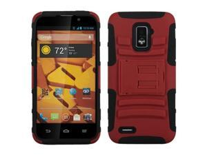 ASMYNA Red/Black Advanced Armor Stand Protector Cover Compatible With ZTE N9510 (Warp 4G)