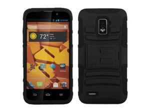 ASMYNA Black/Black Advanced Armor Stand Protector Cover Compatible With ZTE N9510 (Warp 4G)