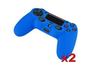 eForCity 2 Packs Blue Silicone Controller Case Compatible with Sony PlayStation PS4