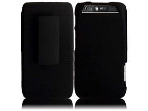 HRW for Motorola Atrix 3 MB886 Atrix HD(AT&T) Rubberized Cover With Holster - Black