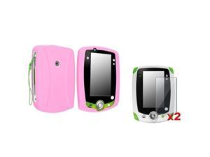 eForCity Pink Rubber Skin Case Cover + 2x Clear Screen Protector Compatible With LPF Leappad 2 Explorer