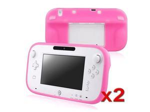 eForCity 2x Pink Rubber Gel Skin Case Cover Compatible With Nintendo Wii U Gamepad Remote Controller