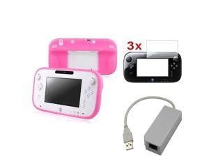 eForCity USB RJ45 Lan Adapter + Pink Skin Soft Case Cover + 3-Piece Screen Protector Compatible With Nintendo Wii U