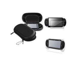 eForCity Black EVA Case Cover + White Hand Grip + Clear Screen Protector Compatible With Sony PS Vita PSV
