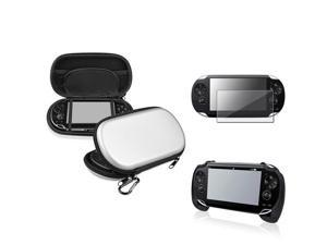 eForCity Silver EVA Case Cover + Black Hand Grip + Clear Screen Protector Compatible With Sony PS Vita PSV