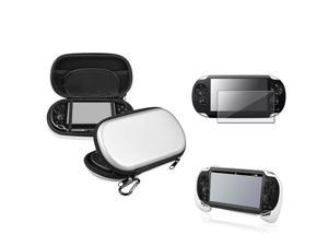 eForCity Silver EVA Case Cover + White Hand Grip + Clear Screen Protector Compatible With Sony PS Vita PSV
