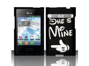BJ For LG Optimus Logic L35g/Dynamic L38c Rubberized Hard Design Case Cover - She`s Mine