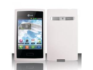 BJ For LG Optimus Logic L35g/Dynamic L38c Silicone Skin Case Cover - White