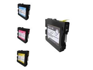G&G 4-Pack GC21 / GC21H Inkjet Ink Cartridge Bk C M Y For Ricoh GX-2500 5000 5050 7000