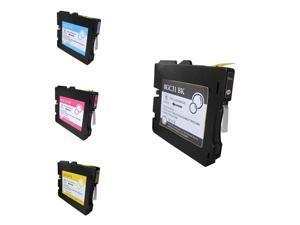 G&G 4-Pack GC31 / GC31H Inkjet Ink Cartridge Bk C M Y For Ricoh GX E5500 E5550 E7700