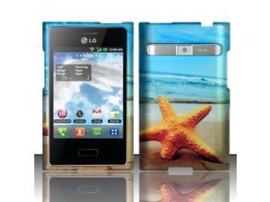 BJ For LG Optimus Logic L35g / Dynamic L38c (StraightTalk/Net 10) Rubberized Design Case Cover - Star Fish