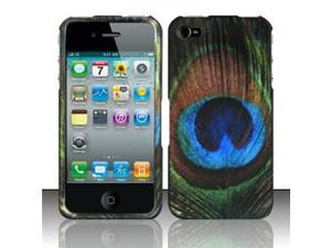 BJ For iPhone 4 (AT&T/Verizon/Sprint) Rubberized Design Case Cover - Blue/Green Feathers