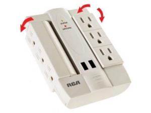 RCA PSWTS6UWH 6-Outlet Surge Protector with 2 USB Ports