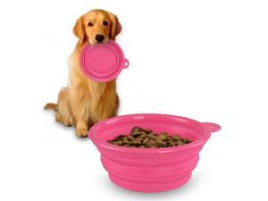 eForCity Collapsible Pet Feeding Bowl, Pink