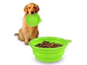 eForCity Collapsible Pet Feeding Bowl, Green