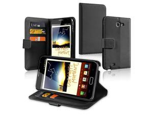 eForCity Leather Wallet Case with Card Holder for Samsung© Galaxy Note N7000, Black