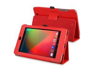 Leather Case with Multi-Angle Stand compatible with Google Nexus 7 (2012 version), Red
