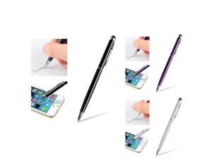 eForCity 3-Pack Stylus Bundle : 2-in-1 Capacitive Touch Screen Stylus Ballpoint Pens Black / Purple / Silver