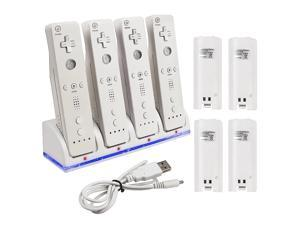 eForCity 4 Port Charging Station with 4 Rechargeable Battery compatible with Nintendo Wii Remote Control, White