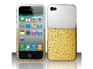For iPhone 4 / 4s (AT&T / Verizon / Sprint) Rubberized Design Cover - Beer Bubbles