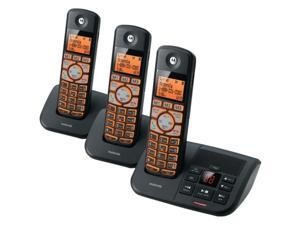 Motorola DECT 6.0 Cordless Big Backlit Button Phone with 3 Handsets, Caller ID and Answering System K703B - Black