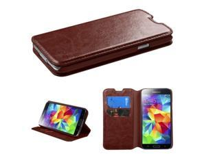 Brown Book Style MyJacket Card Wallet Protector Cover Case for Samsung Galaxy S5