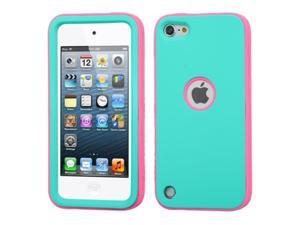 Apple iPod Touch 5th Gen/6th Gen Case, eForCity Verge Dual Layer Protection Hybrid Rubberized Hard PC/Silicone Case Cover Compatible With Apple iPod Touch 5th Gen/6th Gen, Turquoise/Hot Pink