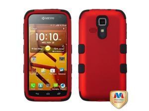Titanium Red / Black TUFF Hybrid Phone Protector Cover For KYOCERA C6730 / C6530