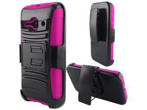 Alcatel One Touch Evolve 2 Case - eForCity Hybrid Stand Rubberized PC/Silicone Holster Case Cover For Alcatel One Touch Evolve 2, Black/Hot Pink