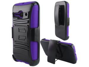 Alcatel One Touch Evolve 2 Case - eForCity Hybrid Stand Rubberized PC/Silicone Holster Case Cover For Alcatel One Touch Evolve 2, Black/Purple