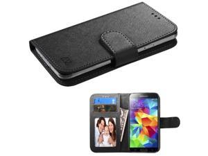 eForCity Black Leather Wallet Case For ZTE Fanfare iPhone 5 5C 5S  iPod Touch 6th 5th  Moto E G X 2013  Samsung Galaxy Core Prime Avant Alpha  Nokia Lumia 635 630 530 520 925 900 820 with Card Slot