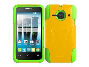 Alcatel One Touch Evolve 2 Case - eForCity Dual Layer Hybrid Stand Rubberized Hard PC/Silicone Case Cover For Alcatel One Touch Evolve 2, Yellow/Green