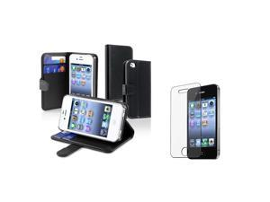 eForCity Black Wallet Leather Wallet Case Cover w/ 2 x Screen Protector For Apple iPhone 4 4G 4th 4S