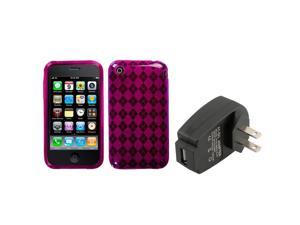 eForCity Hot Pink Argyle Candy Skin Case For Apple iPhone 3G/3GS + USB Travel Charger