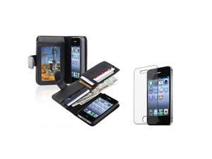 eForCity Leather Wallet Case Cover, Black w/ Clear Screen Protector For Apple iPhone 4 / 4S