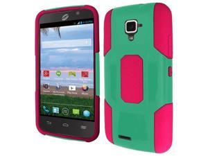 ZTE Rapido Case, eForCity Dual Layer [Shock Absorbing] Protection Hybrid Rubberized Hard PC/Silicone Case Cover For ZTE Rapido, Hot Pink/Green