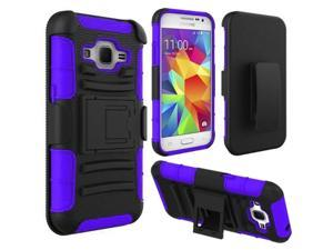 Samsung Galaxy Core Prime Case - eForCity Dual Layer [Shock Absorbing] Protection Hybrid PC/Silicone Holster Case Cover for Samsung Galaxy Core Prime, Black/Blue