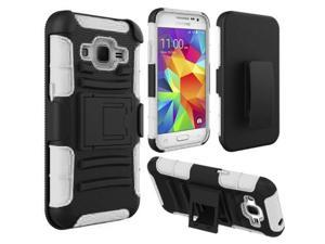 Samsung Galaxy Core Prime Case - eForCity Dual Layer [Shock Absorbing] Protection Hybrid PC/Silicone Holster Case Cover for Samsung Galaxy Core Prime, Black/White