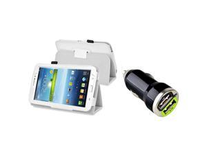 eForCity White Leather Case with Stand with 2-Port USB Car Charger Adapter For Samsung Galaxy Tab 3 7.0 P3200