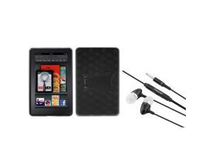 eForCity Black Transparent Solid Hole Pattern Gummy Case + Stereo Headset compatible with Kindle Fire